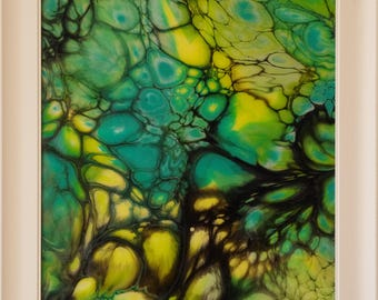 Sanctuary - by Maria Brookes, 553mm x 742mm Framed, Fluid Acrylic Pouring