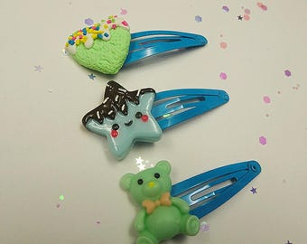 Kawaii Blue Hair Clip Set