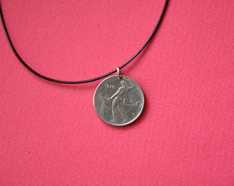Italy L50 Lira 1976. Real Coin Pendant. REPVBLICA. ITALIANA  Сoin jewelry. Mens Necklace, Womens Necklace, Birth Year 1976