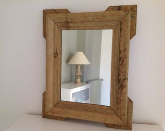 Old wood mirror 63.5 x 51.5 cm - Molded wood mirror - Antique mirror - Shabby decoration - Bohemian decoration -
