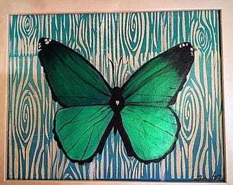 Shimmering Green Butterfly Original Painting