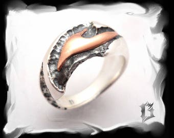 Oxidized sterling silver and 14k red gold ring, gothic inspiration | #516