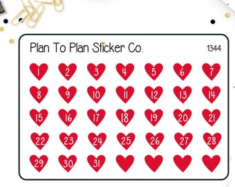 1344~~ Valentines Heart Date Covers Planner Stickers.