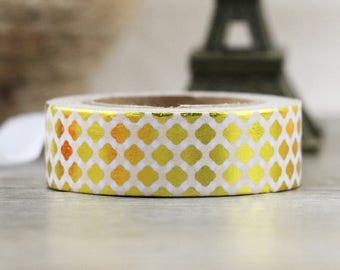 Gold Foil Lattice Washi Tape - Foil washi Tape -  Lattice Washi Tape - Paper Tape - Planner Washi Tape - Washi - Decorative Tape