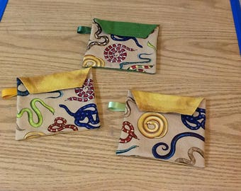 Reusable sandwich bags, snakes, red snakes, blue snakes, yellow, brown,  package of 3, Eco friendly, machine washable, water resistant