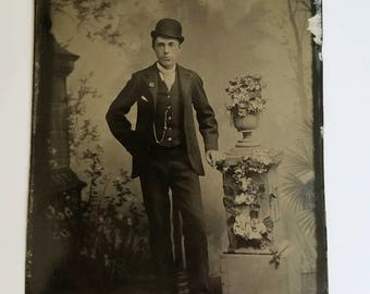Tintype Photo Handsome Man Bowler Hat Watch Chain Cigarette 3 1/2 x 5