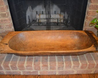 Antique Vintage Original Wooden Dough Bowl Trencher - 45""