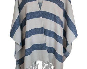 Gilles Wool Poncho blue/beige