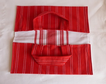 Pie fabric bag, red cotton