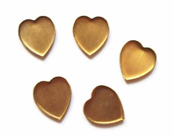 5 supports Golden hearts cabochons glue 18 x 11 mm
