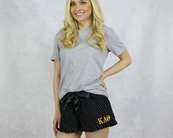 Kappa Alpha Theta Polka Dot PJ Shorts in Black