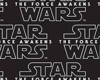 "Star Wars the force awakens WORDS fabric, By the Half Yard, 44"" wide, cotton"