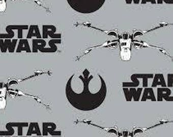 "X-Wing fighter and Star Wars black words on Gray FLANNEL fabric, by the half yard, 42"" wide, cotton flannel"