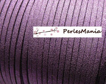 2 m cord suede with glitter purple H306
