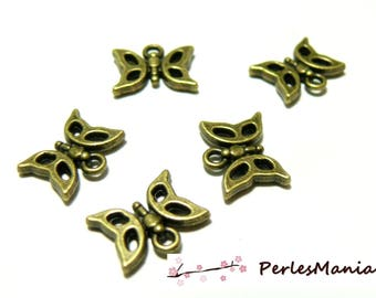 Jewelry supplies: 50 charms bronze 2D1264 butterflies
