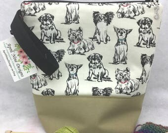 Medium Puppies Knitting Bag, Puppies Crochet Bag, Knitting Project Bag