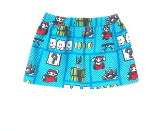 Flare Skirt, Super Mario Brothers, Turquoise Blue, Green, Red, Yellow, White, Summer, Fits dolls such as American Girl, 18 inch Doll Clothes