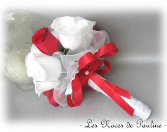 Red and white bridal bouquet to eternal roses