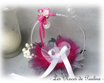 Ring bearer fuchsia pink, grey and white feather wedding rings