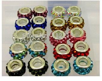 Lot of 20 12 mm x 5 mm shamballa beads mixed colors