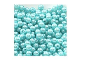 set of 200 6 mm light blue acrylic beads