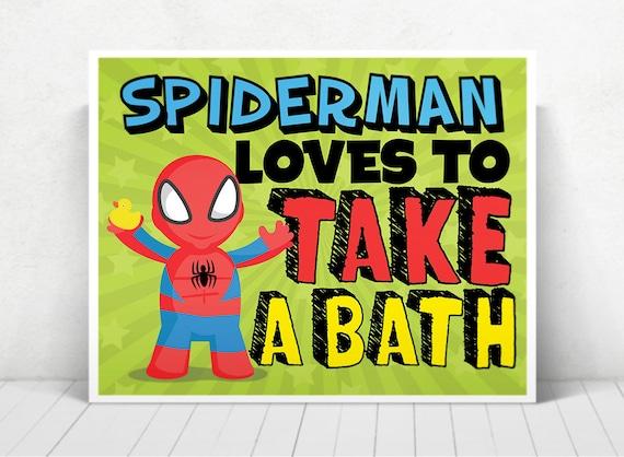 Superhero Spiderman Wall Art / Spiderman Kids ART  / Spiderman Loves To Take A Bath / Spiderman