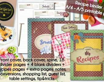 Recipe Book Printable Diy Binder Organizer Instant Download Gift Cookbook