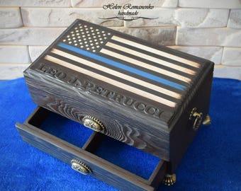 Thin Blue Line Rustic American Flag Watch box-Flag Police Blue Line-Patriotic-Monogrammed Big box-Jewelry Men-Flag USA-Police box for cigars
