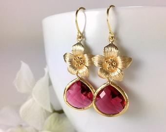 Ruby Earrings Gold Ruby Dangle Earrings Gold Flower Ruby Drop Earring Red Earrings Wedding Bridal Earrings Red Earrings Ruby Jewelry Gift