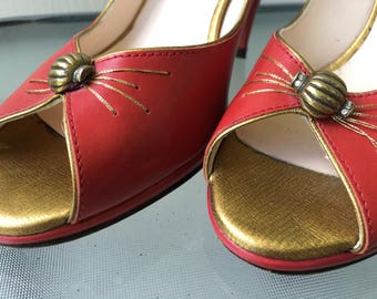 Size 7 Retro Red Pumps with Gold Peep Toe and Beaded Detail