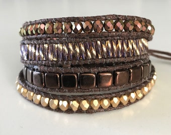 Bronze and Gold Wrap Bracelet