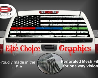 Thin Blue Red Green Line Rear Window Graphic Tint Decal Sticker Truck SUV Van Car