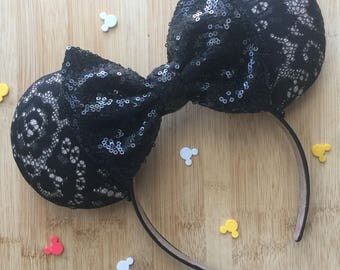 Black Lace Ears, New Years Ears, New Years Minnie Ears, New Years Mickey Ears, Custom Mouse Ears, New Years Eve Minnie Ears, Disney Ears