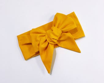 Mustard headwrap bow topknot baby toddler girls kids newborn newborn kids hairbow accessories