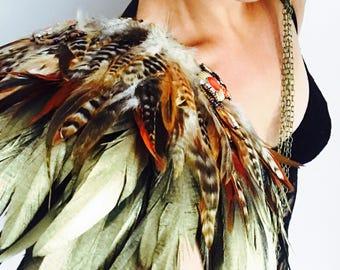Gold feather festival epaulettes, Coachella festival feather wings, feather shoulder pieces, Burning Man feather epaulettes, feather wings