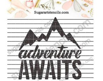 Adventure awaits cookie stencil  NB900767