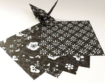 Origami Paper Sheets - Double Sided Monochrome Design - 80 Sheets