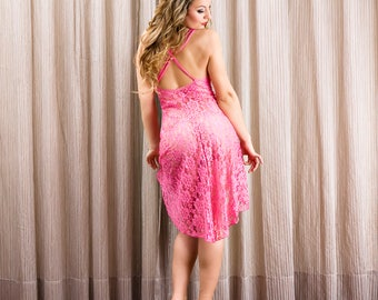 Light Pink Sheer Lace Gown with Matching G-String panties