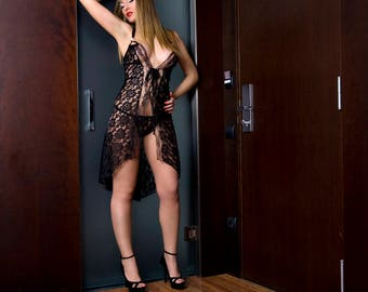 Sex Black Lace Long Night Wear  Dress