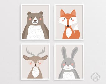 Woodland nursery decor, Woodland animals nursery, Nursery woodland set, Bear, Fox, Rabbit, Deer, Baby shower gift, INSTANT DOWNLOAD