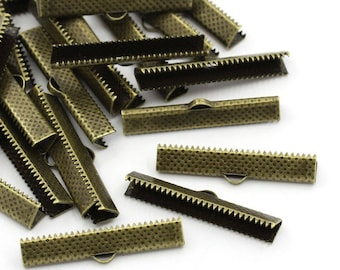 25mm / 25 caps claws for ribbons in antique bronze