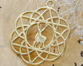 Flower of life pendant / 2.8 cm Golden Metal deer / Animal