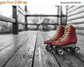 ON SALE Red - Vintage - Roller Skates - Photo - Skates - Roller Rink - Photography - Print - Art - Black and White - Color - Fine Art - Spor