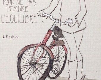 Life is like a bicycle... Watercolor postcard size 10 X 15