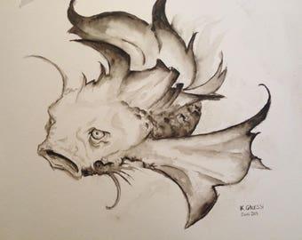 The CARP Koi dismayed sepia monochrome watercolor.