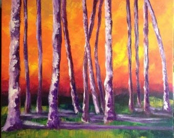 Fall 2 Arboretum. Trunks of trees in autumn, acrylic on canvas 55 x 47.