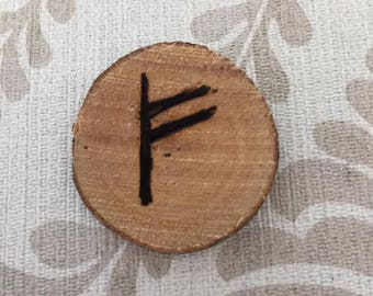 Fehu: Rune wealth - engraved and painted wood