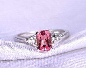Tourmaline Ring 1ct Tourmaline Engagement Ring 5x7mm Emerald Cut Natural Gemstone Ring Diamond Ring 14k White Gold Bridal Ring Customized
