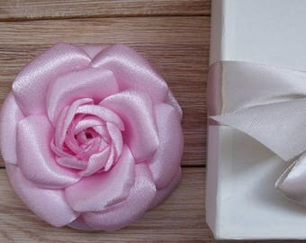 Camellia Pink, Chanel Style, Camellia Brooch, Satin Flower, Stylish Brooch, Flower Brooch, Flower in Hair, Camellia Flower