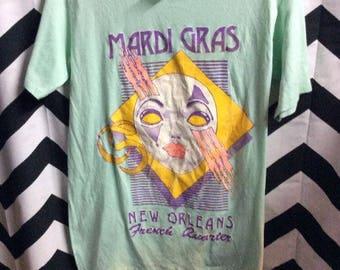 Tshirt Softy Seafoam Mardi Gras Mask Print